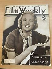 VINTAGE 18 JULY 1936 FILM WEEKLY MAGAZINE - CONFESSIONS OF GINGER ROGERS