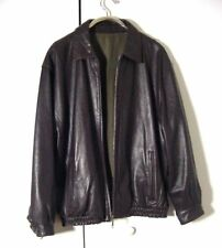 Vtg Casablaca Reversable Bomber Dark Brown Leather Jacket Sz XL