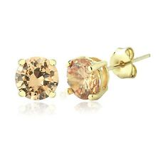 Gold Tone Champagne Cubic Zirconia 6mm Round Stud Earrings