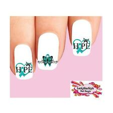 Waterslide Nail Decals Set of 20 Teal Ovarian Cervical Cancer Ribbon Butterflies
