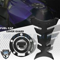 PERFORATED BLACK PRO GRIP TANK PAD+CARBON LOOK GAS CAP COVER YAMAHA R1/R6 YZF/FZ