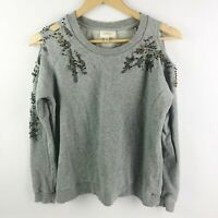 Anthropologie Deletta Size XS Twilight Ivy Beaded Pullover Gray Cold Shoulder