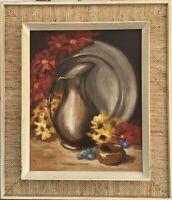 Stillleben mit Zinn und Blumen Helmer Larsen Dänemark 55,5 x 47,5 cm Ölgemälde
