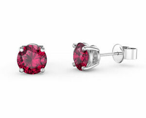 July Birthstone Ruby 14k White Gold Over Round-Cut Ruby Stud Earrings, 8mm