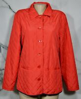 DENIM & CO. NEW NWT Coral Red Quilted Buttonfront Jacket Medium Lined  Blue Trim