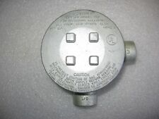 """O-Z / Gedney GUAL-50 Explosion Proof Mall. Iron Conduit Outlet Box 1/2"""" Threaded"""