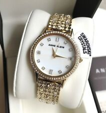 Anne Klein Watch * 3360MPGB Mother of Pearl Gemmed Gold Steel Bangle for Women