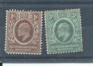 East Africa & Uganda stamps.  1907 Edward VII 1c MH plus a creased 3c (N657) KUT