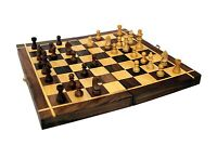 Folding Hand Carved Wooden Chess Game 12X12 INCHES Board Set with Wooden Pieces