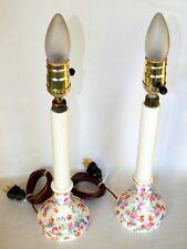 """VINTAGE PAIR OF 1930'S CZECOSLOVAKIAN CHINTZ 14"""" CANDLESTICK LAMPS"""