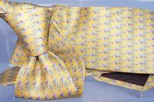 New Salvatore Ferragamo Swan on a Bike Men's Tie Yellow Classic Silk
