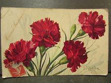 cpa illustrateur signée barde oeillets fleur