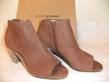 LUCKY BRAND Kasima Brown Toffee Leather Ankle Boot Peep Toe Size 10 NIB $129