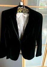 "NEXT Women's Black Fitted Cotton Velvet Jacket Size UK 16, length 28"" VVGC"