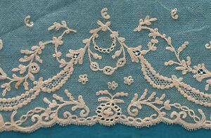260 cms. antique tambour  lace border