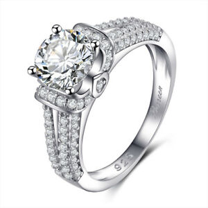 Crystal Engagement Rings For Women Silver Elegant Ring Female Wedding Jewerly