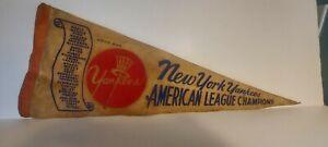 ORIG 1960'S N.Y. YANKEES AMERICAN LEAGUE CHAMPIONS Roster PENNANT MANTLE MARIS