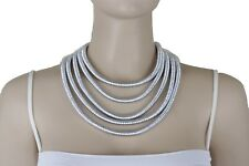 Women Short Choker Necklace Fashion Metallic Silver 5 Strands Fancy Mesh Fabric
