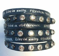 Humanity Inspire with Kindness Cuff Bracelet w Studs Crystals Navy