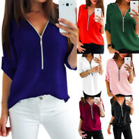 USA Womens  Zipper V-Neck Top Blouse T-Shirt Tee Casual Long Sleeve Size S-5XL