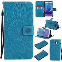 Patterned Flip Leather Wallet Stand Card Case Cover F Samsung Galaxy Note 5 4 3