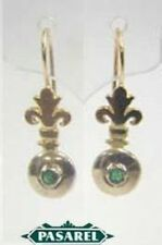 14k Yellow & White Gold Fleur-De-Lis Emerald Earrings