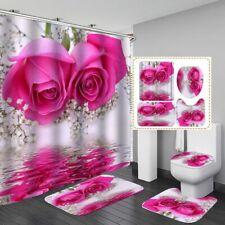 Rose Waterproof Shower Curtain Bath Mat Toilet Cover Rug Bathroom Carpet Set