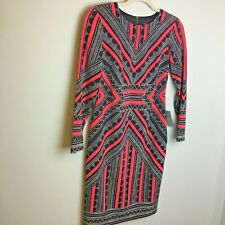 Vince Camuto Dress Size 6P Petites Midi Blue Pink Geometric Lined Long Sleeve