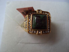 Ruby zoisite 10mm stainless steel ring size 7 DS-5083
