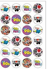 24 PRECUT Edible Wafer Paper 1990s Nineties 90s Themed Cupcake Cake Toppers