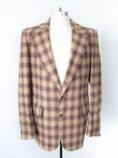 Vtg 70s SUPERFLY Camel Brown Rust Plaid Wool Tweed Blazer Vegas Pimp Jacket 44XL