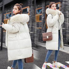 Womens Plus Size Fur hooded Quilted Padded Winter Coat Puffa Parka Jacket 6-14