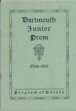 DARTMOUTH JUNIOR PROM,CLASS OF 1916,PROGRAM OF EVENTS,RECEPTION,CONCERT,DANCES