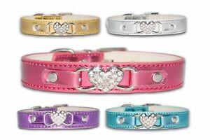 Dog Collars PU Crystal Rhinestone Puppy Pink Small Medium Diamante Bling Female