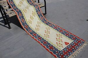 "Vintage Handmade Anatolia Turkish Oushak Kilim Runner Rug 285x90cm,114""x36"""