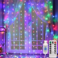 3*3 M 300 LED Xmas Window Curtain Lcicle Fairy String Lights Party Wedding Decor