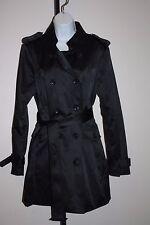 Joan Rivers Long Black Trench Coat Size L