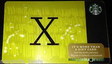 "STARBUCKS US 2014 GIFT CARD ""LETTER X"" A to Z Alphabet Series NEW 99 NO VALUE"