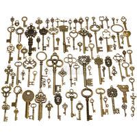 90pc Antique Vintage Old Ornate Skeleton Keys Lot Pendant Fancy Heart Decoration