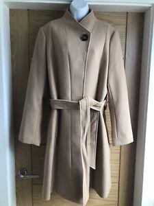 M&S Womens Ladies BNWT Beige Camel Midi Smart Tie Belt Wrap Lined UK 20 Coat