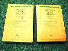 Shephard's Texas Citations Cumulative Supplement * Part 1 & 2 * April 2008 Ed.