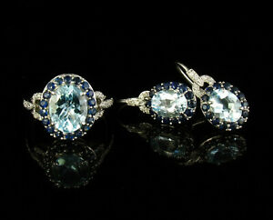 NATURAL 5.42ctw AQUAMARINE SAPPHIRE & DIAMOND SOLID 14K GOLD EARRINGS RING SET