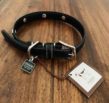 Dogs Black Leather Coach Collar. BNWT. Medium. RRP £100+