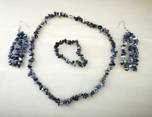 335ct Sodalite Necklace, Bracelet & Earrings with 925 Sterling Silver Findings