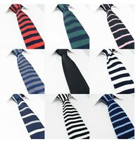 Mens Premium Knitted Solid Plain Check Stripe Polka Skinny Tie Knit Blue Black