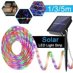 Solar Power RGB Light Strip 2835 LED IP65 Waterproof Outdoor Garden Home