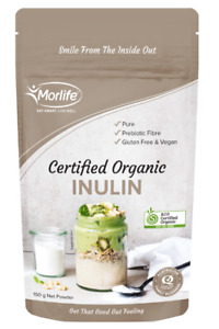 Morlife Inulin Powder Certified Organic 150g - 1KG    Prebiotic Gut Health