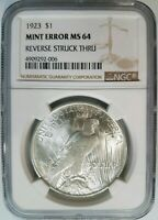 1923 Silver Peace Dollar NGC MS 64 Struck Thru Reverse Strike Through Error