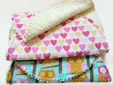 Baby Burp Cloths Natural Cotton Chenille Set of 2 Owls And Hearts Oval Handmade