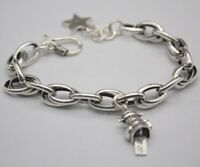 Pure 925 Sterling Silver 8mm Oval Rolo Link Bracelet with Wealth Charm 19cm
